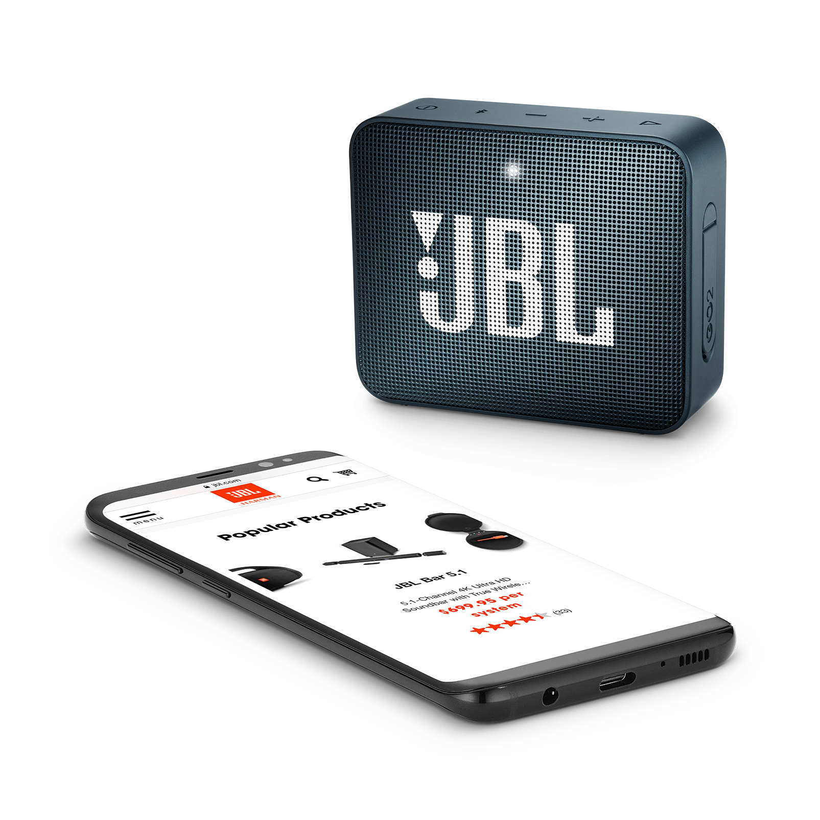 JBL GO 2 - Slate Navy - Portable Bluetooth speaker - Detailshot 3